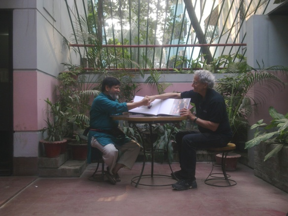 Shahidul Alam & David Burnett on the Drik Terrace after the launch of the Book and Film Birth Pangs of a Nation. Photograph© Chulie de Silva